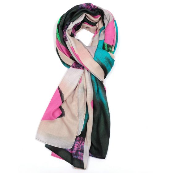 Painterly Print Multi-Coloured Scarf