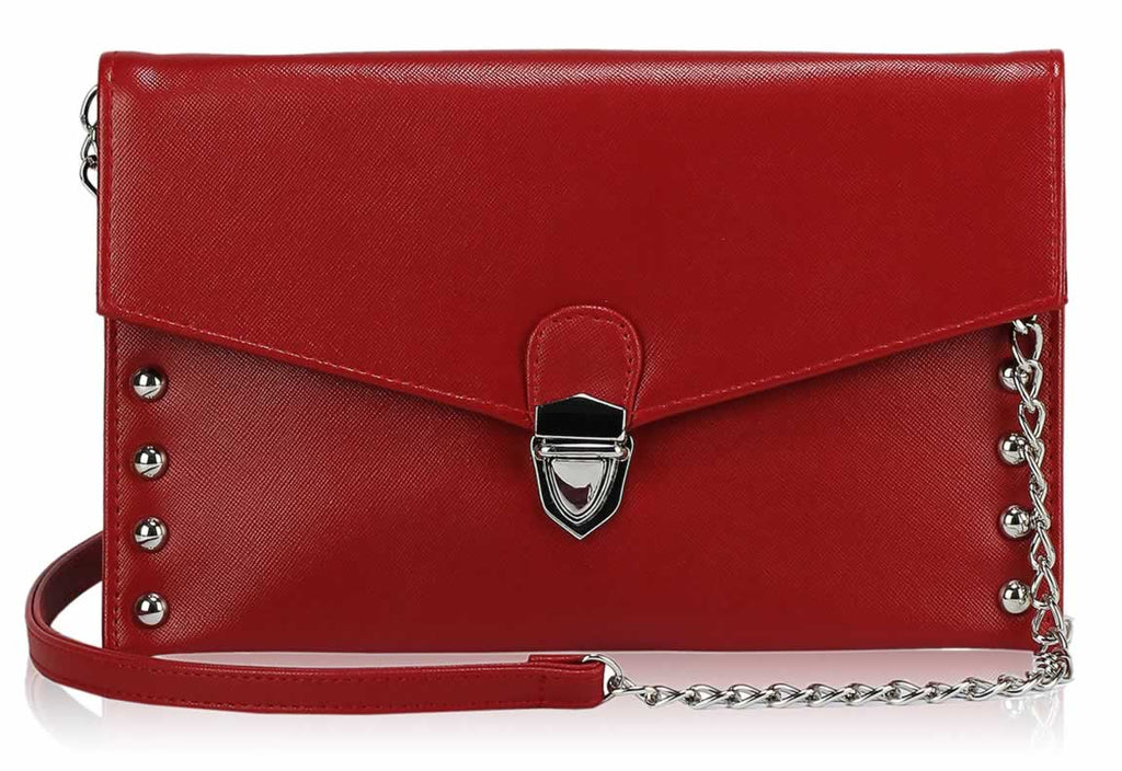 RED ENVELOPE CLUTCH BAG WITH SILVER DETAIL