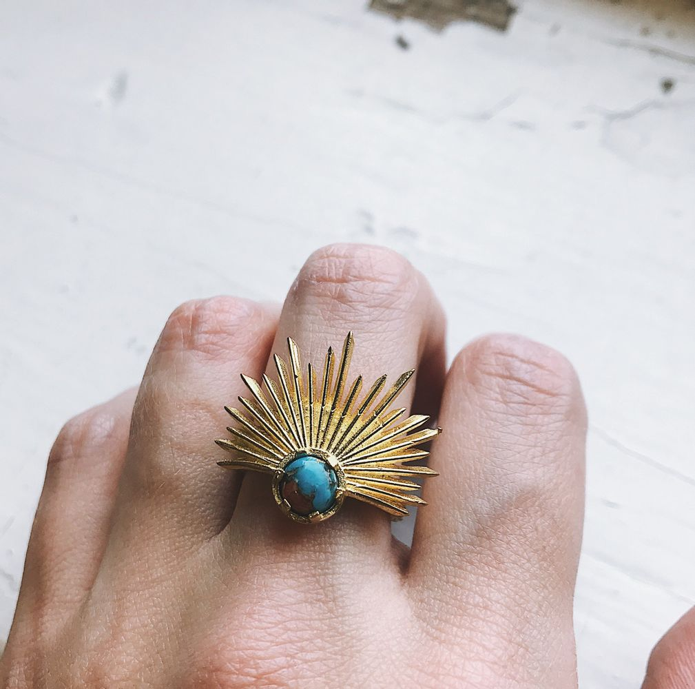 Sun Goddess Ring with Copper Oyster Turquoise
