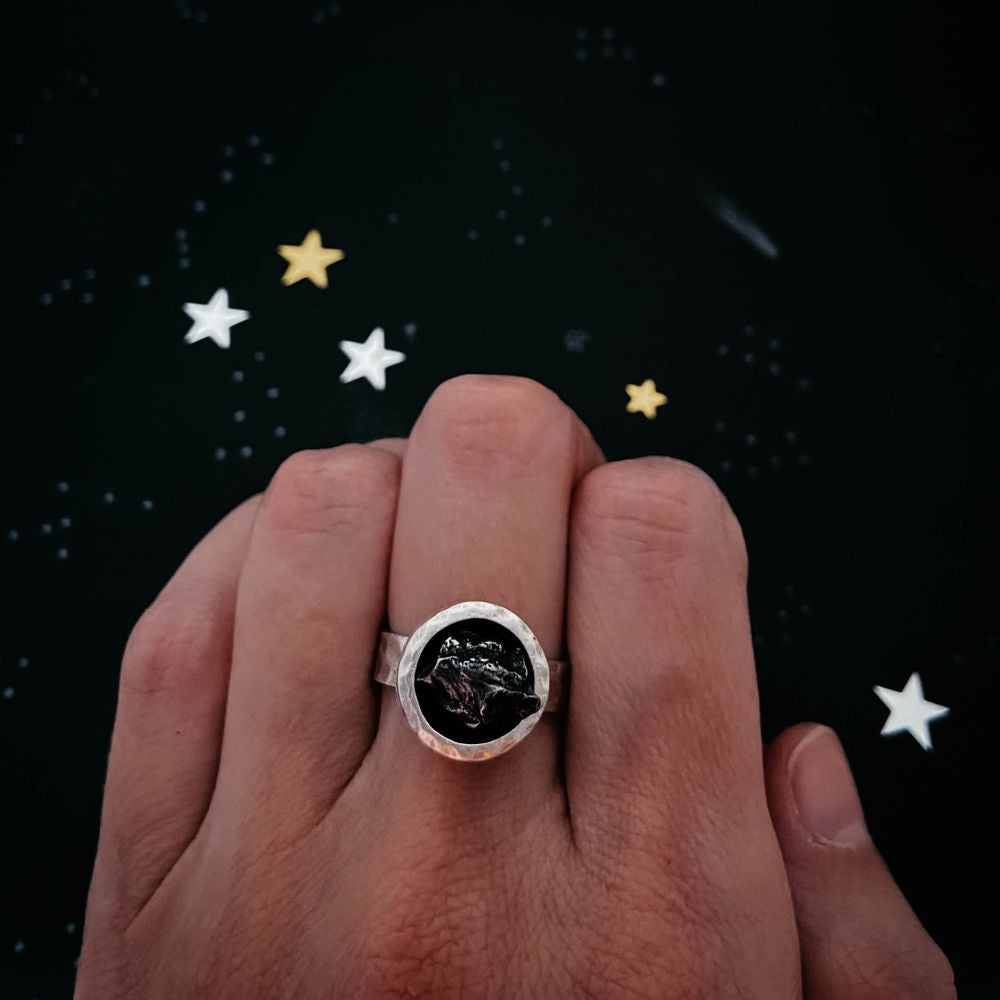 Chunky Round Raw Meteorite Ring in Silver