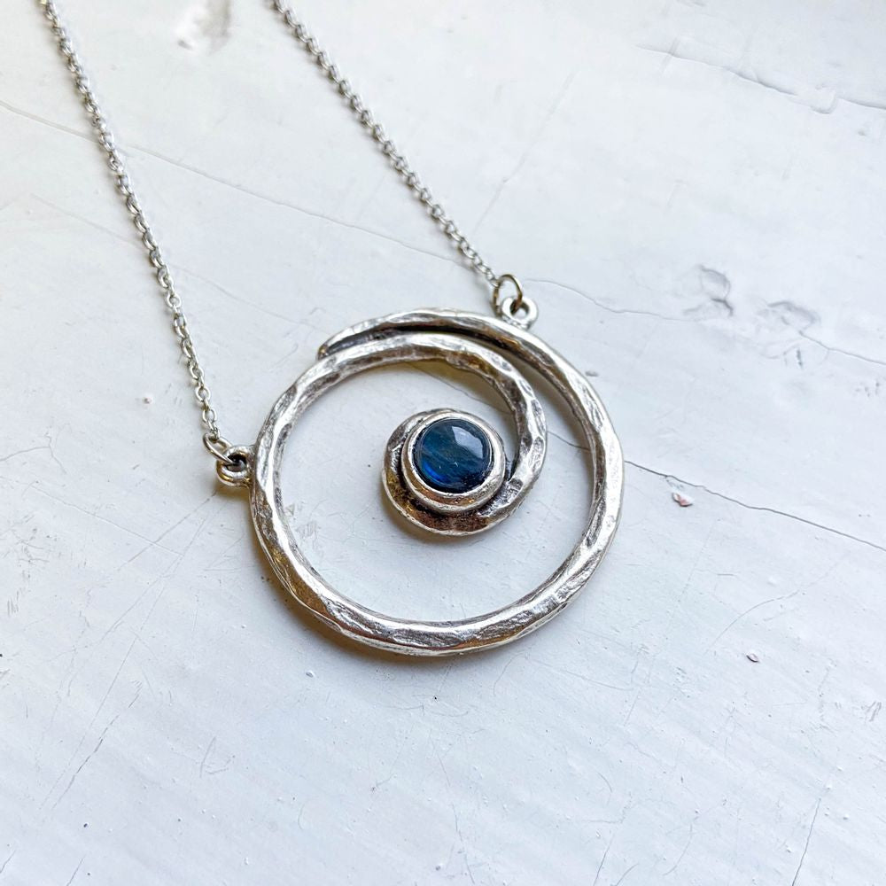 Milky Way Necklace - Spiral Silver Pendant with Labradorite