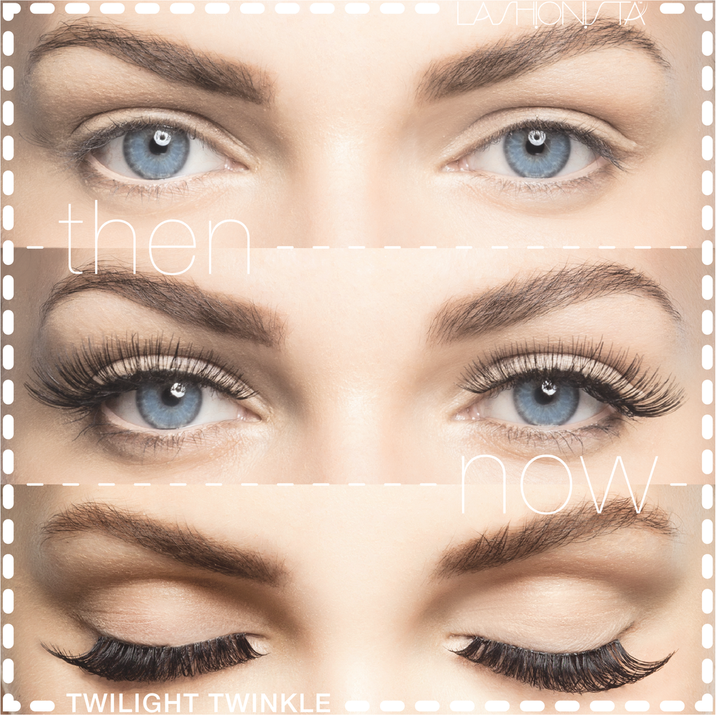 Natural And False Eyelashes Before And After Stock Photo