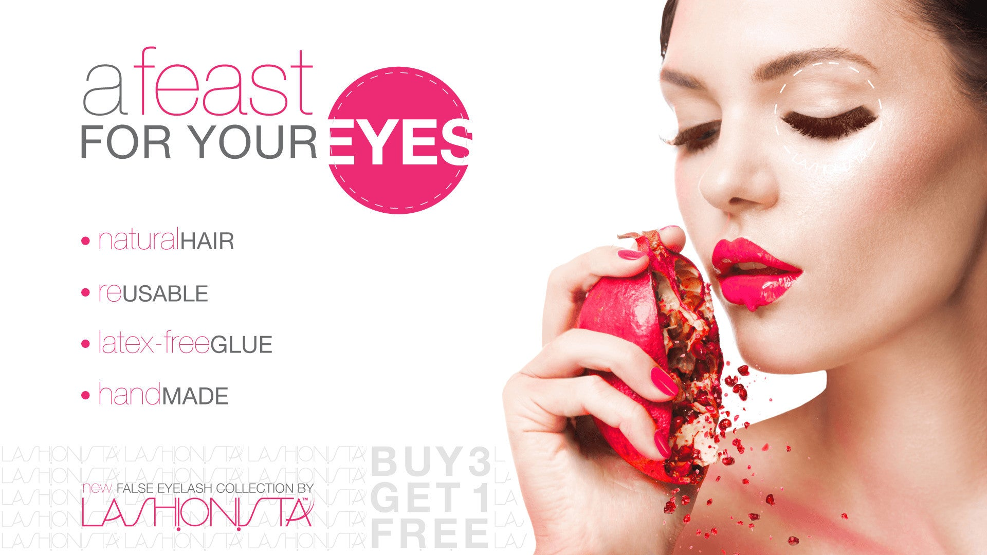 A feast for your eyes. Natural Hair. Reusable. Latex-free Glue. Handmade. New False Eyelash Collection By Lashionista