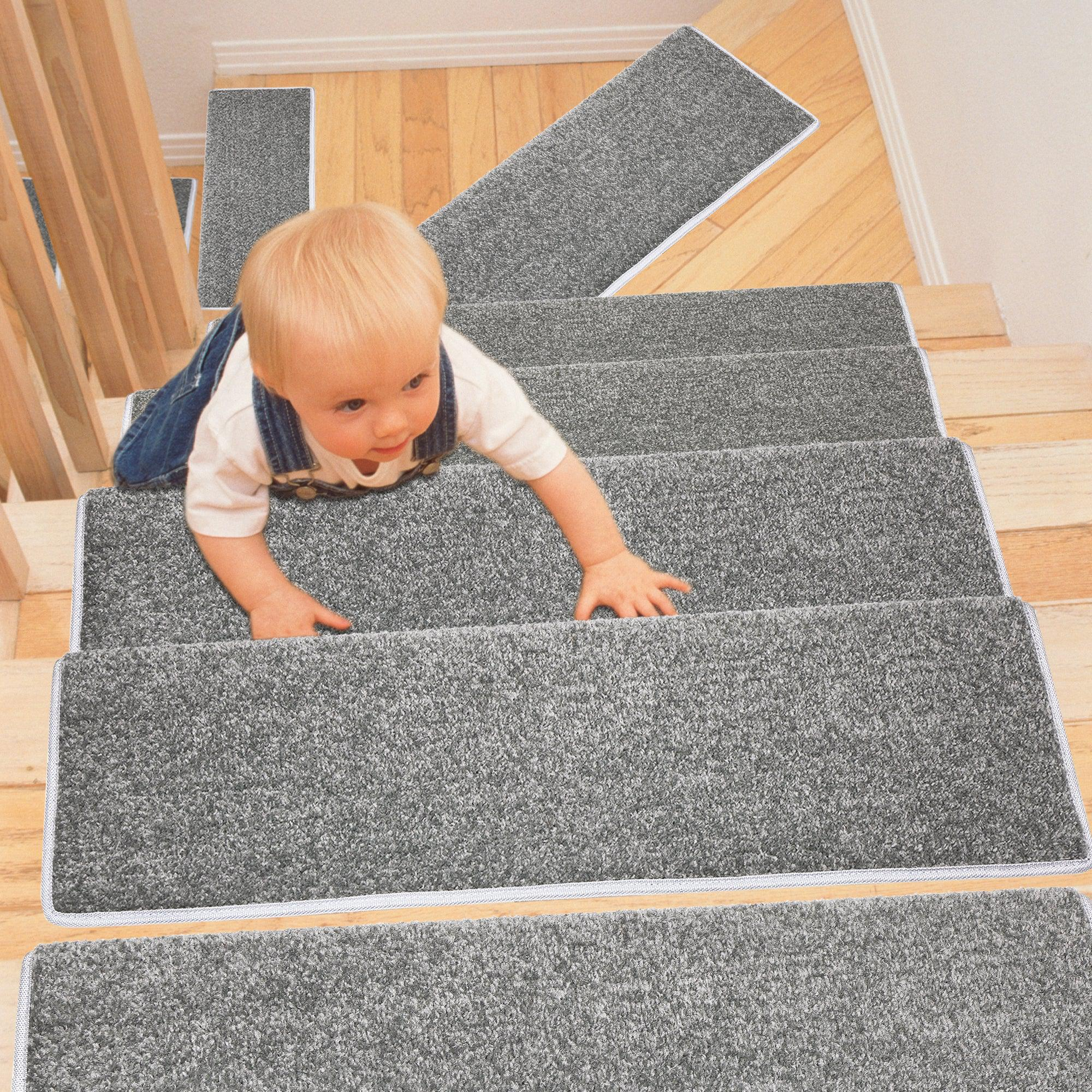"PURE ERA Carpet Stair Treads Set Non-Slip Self Adhesive Ultra Plush Soft Pet Friendly Skid Tape Free Washable Reusable Drak Gray 9.5"" x 30""x1.2"""