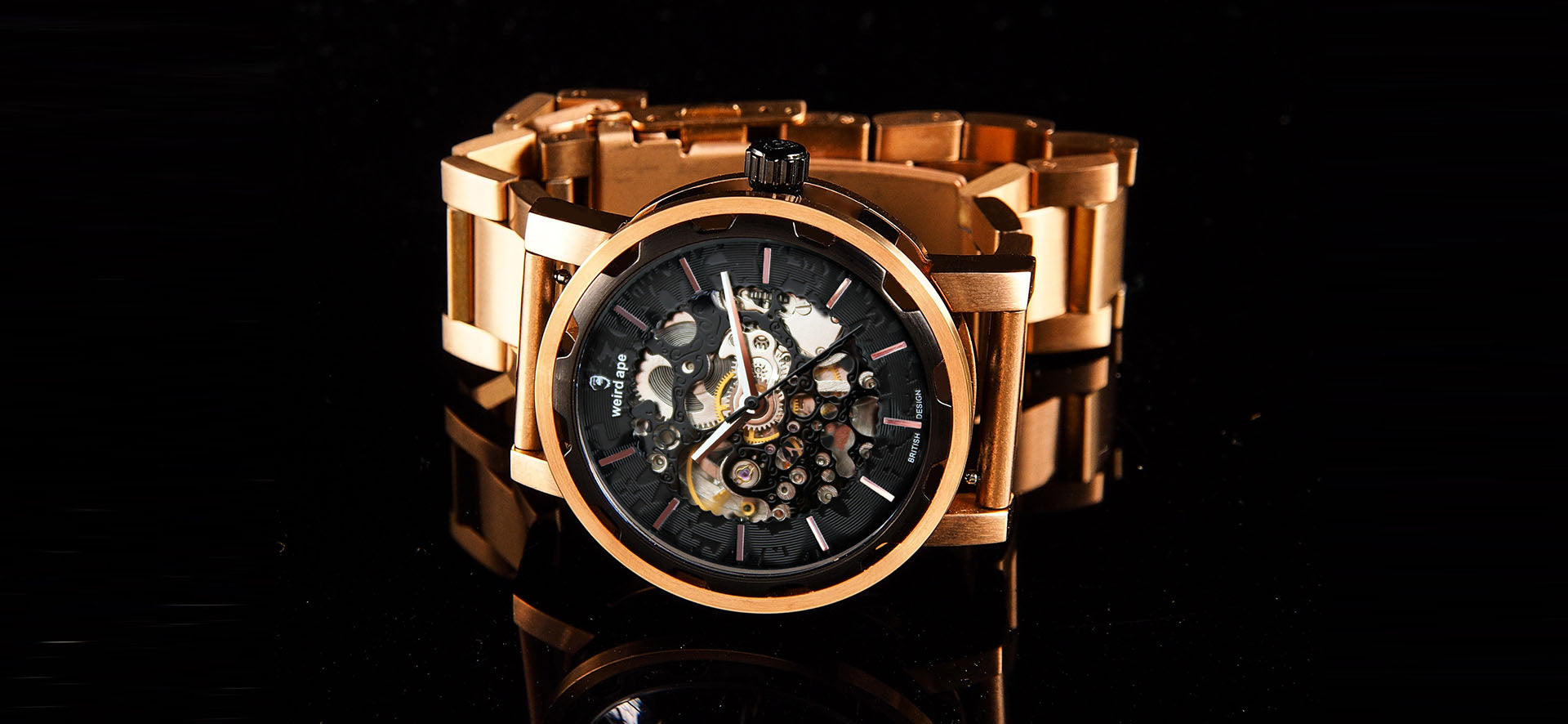 Black rose gold skeleton watch with a black rose gold strap in a lifestyle image