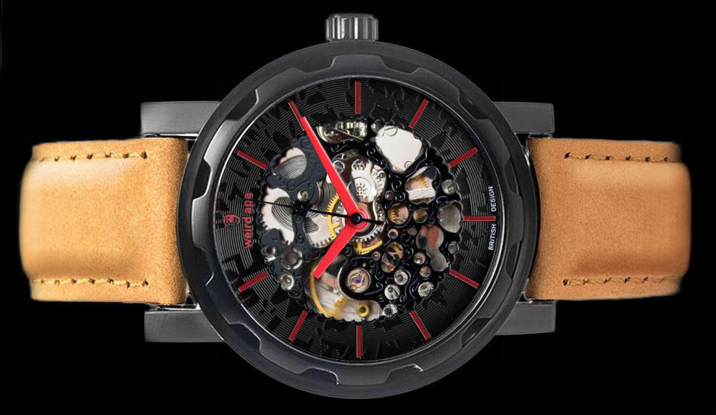 Black red mechanical watch with red hands and metal strap on its side.