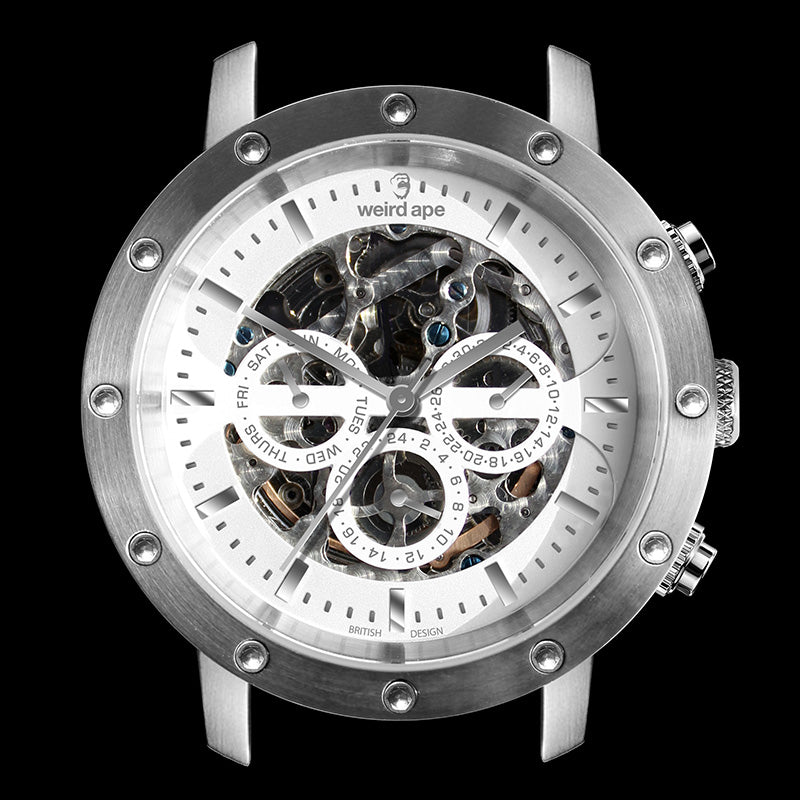 A picture of a Weird Ape mechanical watch in the manufacturing process.