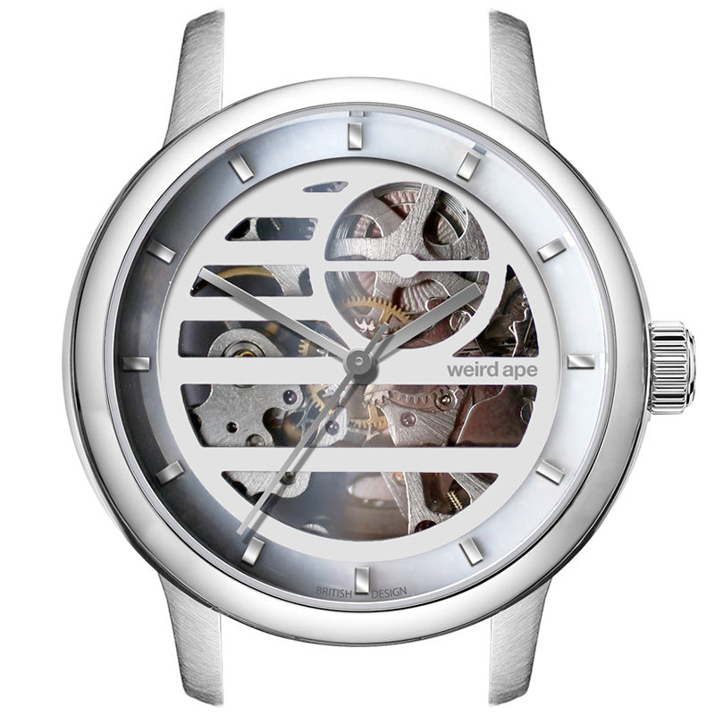 A picture of a Weird Ape womens skeleton watch in the manufacturing process.