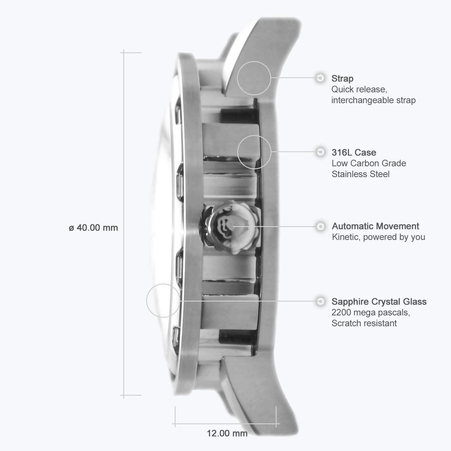 Detailed specifications of the Kolt skeleton watch.