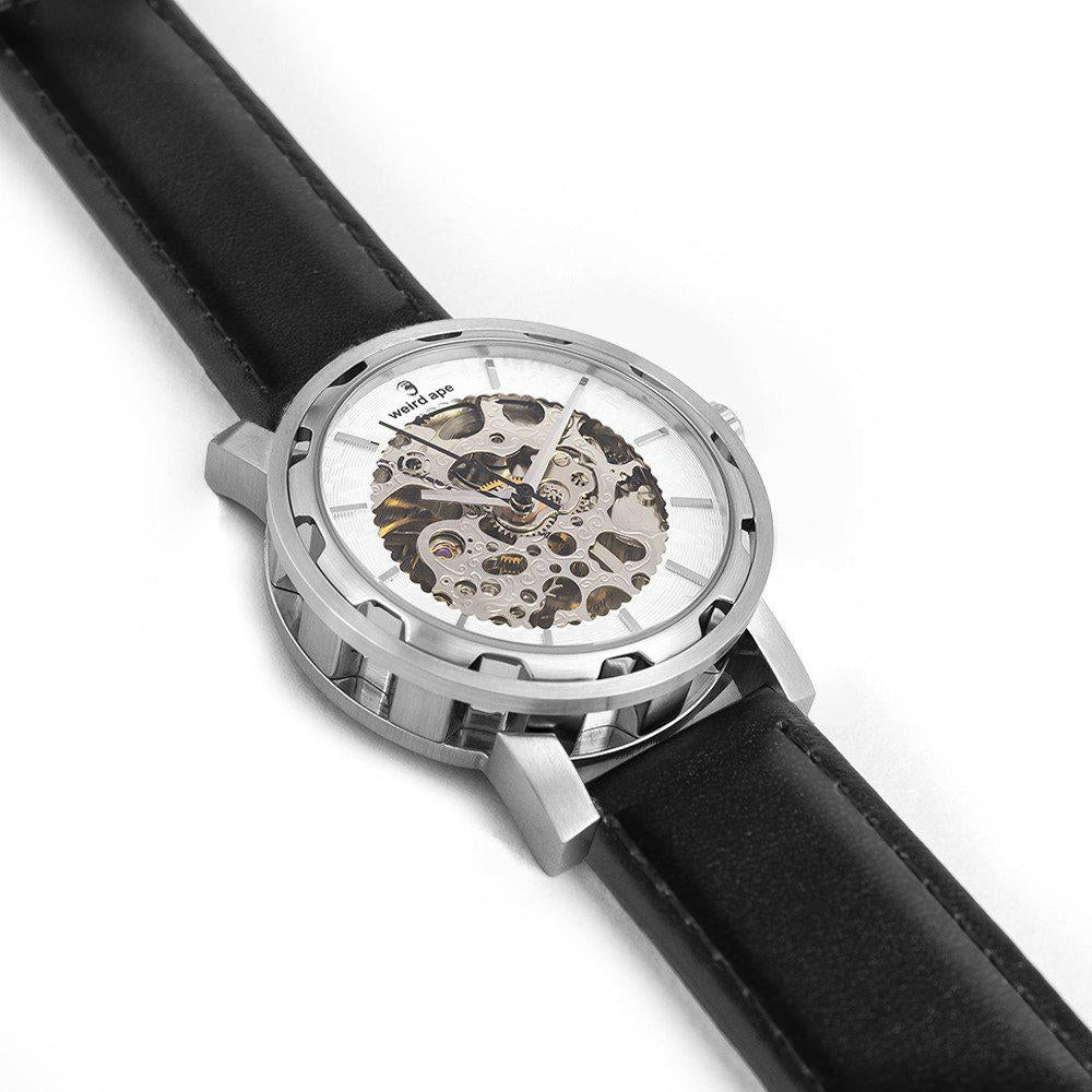 Weird Ape Kolt - Men's Silver skeleton watch with Black strap