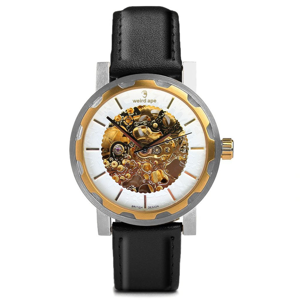 Weird Ape Kolt - Men's Gold skeleton watch with  Movement_Automatic strap