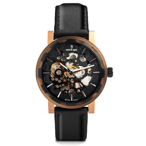 Weird Ape Weird Ape Kolt - Men's Black skeleton watch with  Movement_Automatic strap