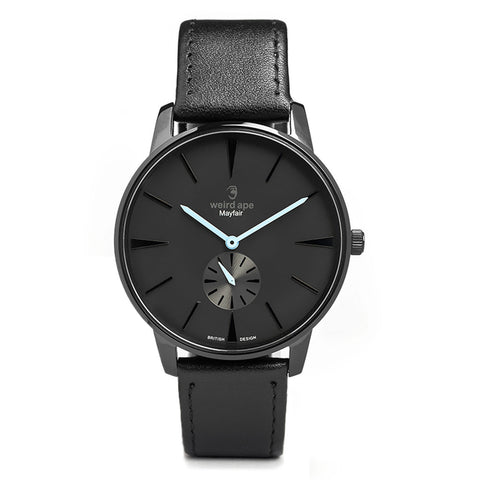 A photo of a Black minimal analog watch design from our Black minimalistic watches.