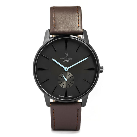 A photo of a Black minimal analog watch from our Black minimalist watches uk.