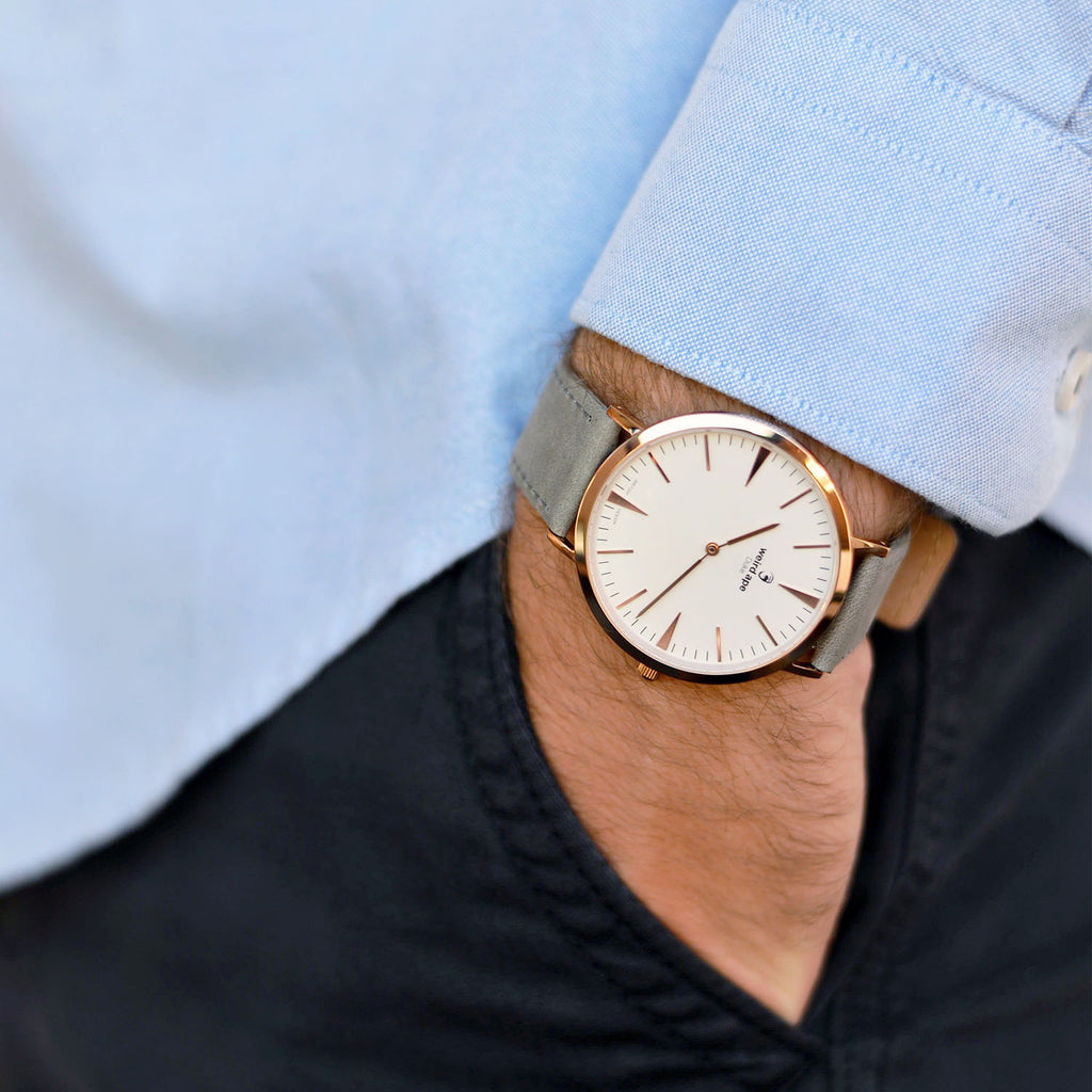 A photo of a Rose gold minimal analog watch from our Rose gold minimalistic watches.