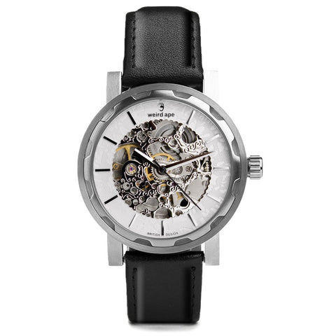 Weird Ape Weird Ape Kolt - Men's Silver skeleton watch with Black strap