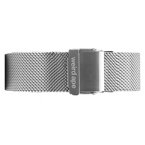 Weird Ape Weird Ape men's Silver Mesh 20mm Strap