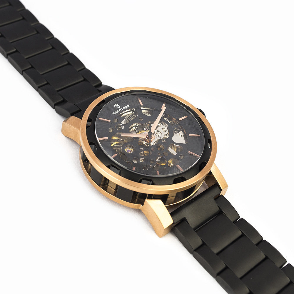 Side of black skeleton watch