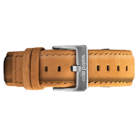 Tan suede strap with silver buckle for skeleton watch or minimal watch.