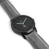 The side of a Black minimal analog watch design from our Black simple mens watches.