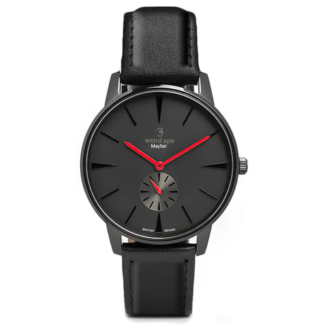 A photo of a Black minimal analog watch design from our Black minimalist watches.