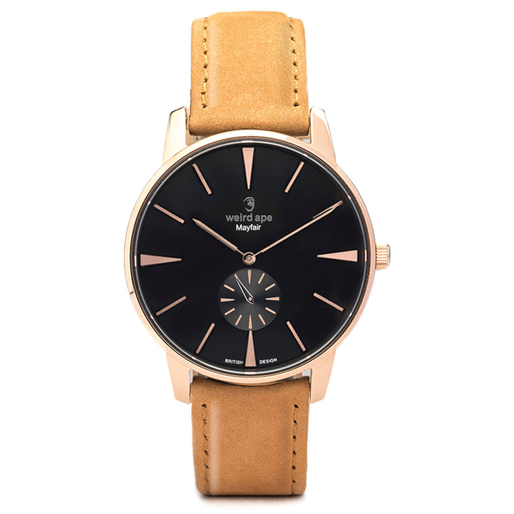 A photo of a Rose gold cheap minimalist watch from our Rose gold minimalistic watches.