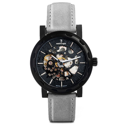 Weird Ape Weird Ape Kolt - Men's Black skeleton watch with Grey strap