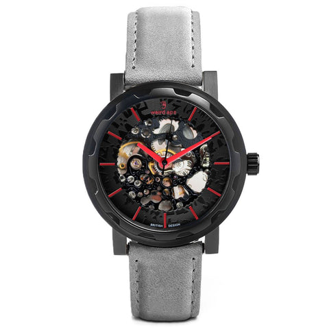 A photo of a Black mechanical watch from our Black skeleton mens watches.