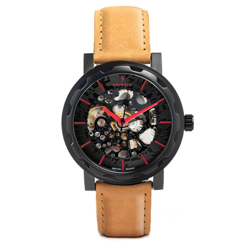 Weird Ape Weird Ape Kolt - Men's Black skeleton watch with Tan strap