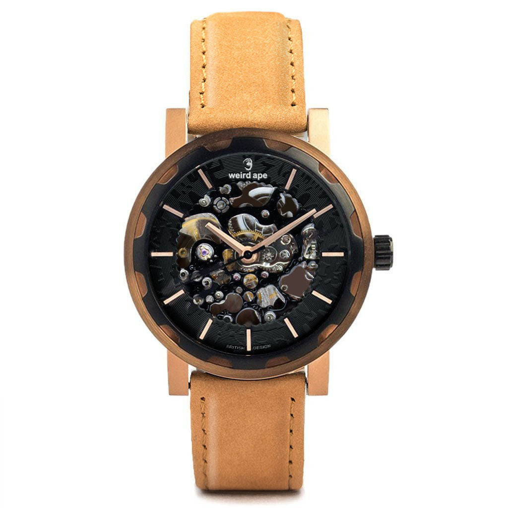 Weird Ape Kolt - Men's Black skeleton watch with  Movement_Automatic strap