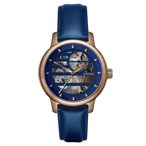 Weird Ape Weird Ape Rosalind - Women's Rose gold skeleton watch with a Indigo Blue strap