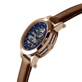 Weird Ape Rosalind - Women's Rose gold skeleton watch with a Oak strap