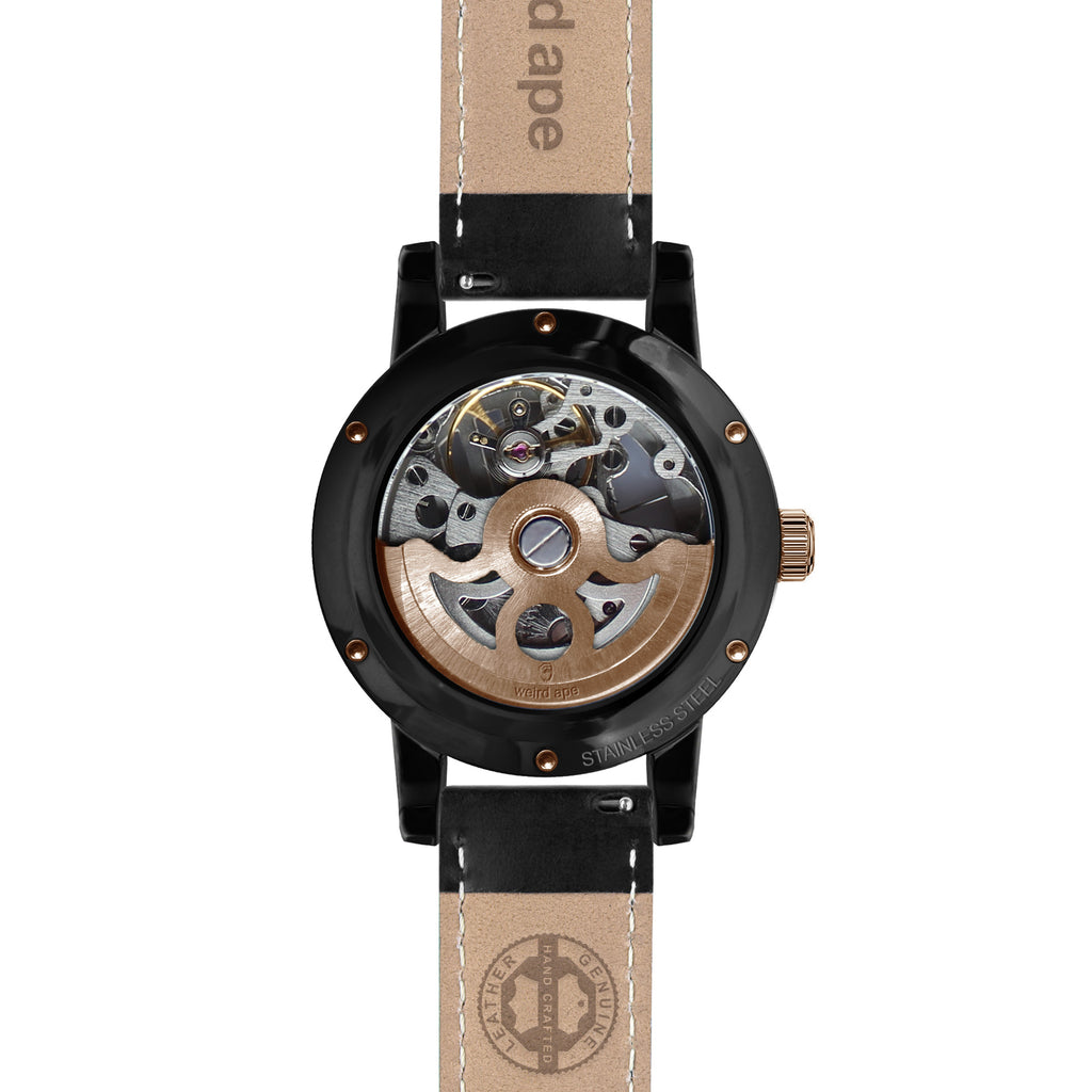 Weird Ape Rosalind - Women's Black skeleton watch with a Black strap