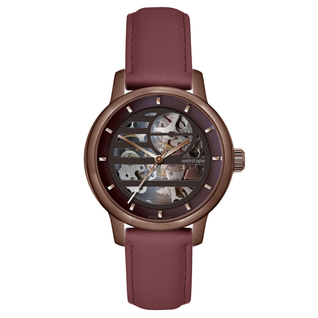 Weird Ape Rosalind - Women's Chocolate skeleton watch with a Royal Blood strap