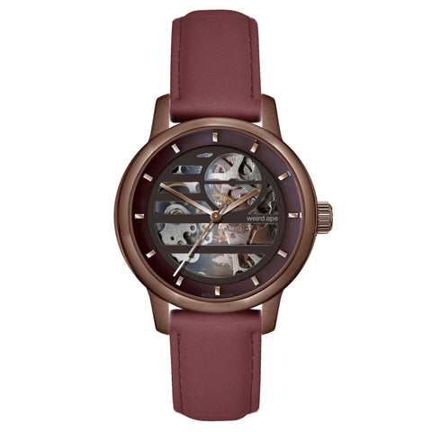 Weird Ape Weird Ape Rosalind - Women's Chocolate skeleton watch with a Royal Blood strap
