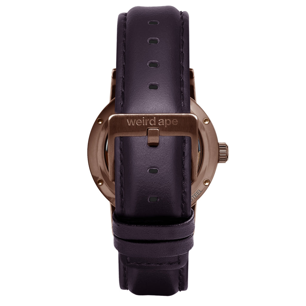 Weird Ape Rosalind - Women's Chocolate skeleton watch with a Aubergine strap
