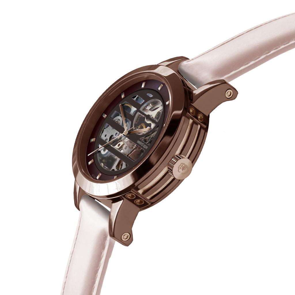 Weird Ape Rosalind - Women's Chocolate skeleton watch with a Nude strap