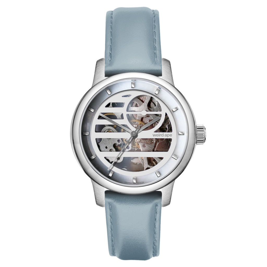 Weird Ape Rosalind - Women's Silver skeleton watch with a Powder Blue strap