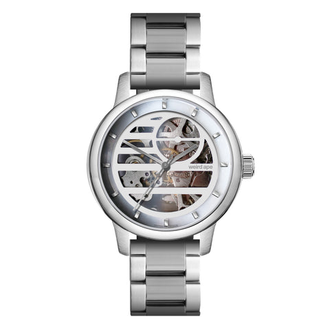 Weird Ape Weird Ape Rosalind - Women's Silver skeleton watch with a Silver strap