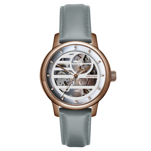 Weird Ape Weird Ape Rosalind - Women's Rose gold skeleton watch with a Soft Grey strap