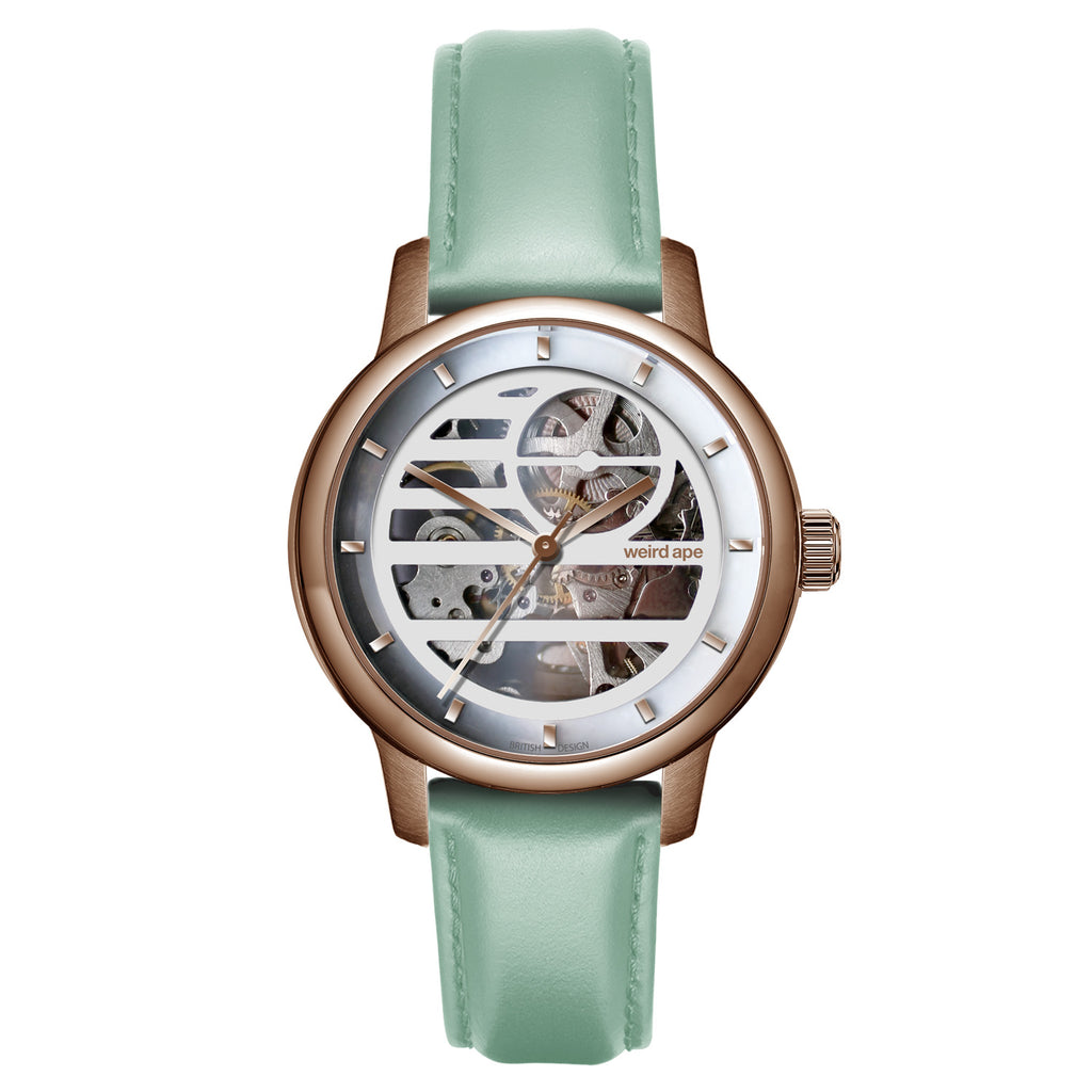 Weird Ape Rosalind - Women's Rose gold skeleton watch with a Mint Green strap