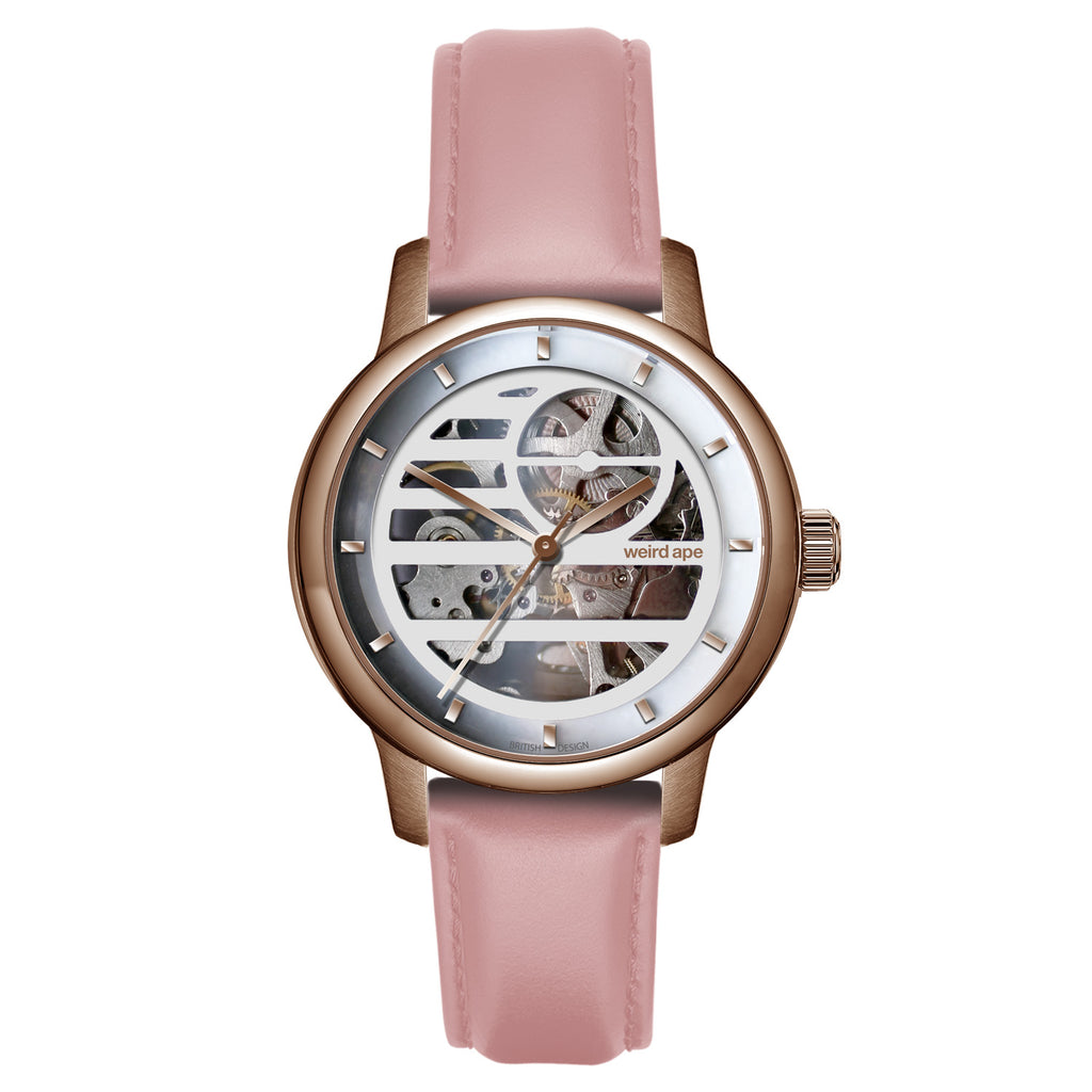 Weird Ape Rosalind - Women's Rose gold skeleton watch with a Pastel Pink strap