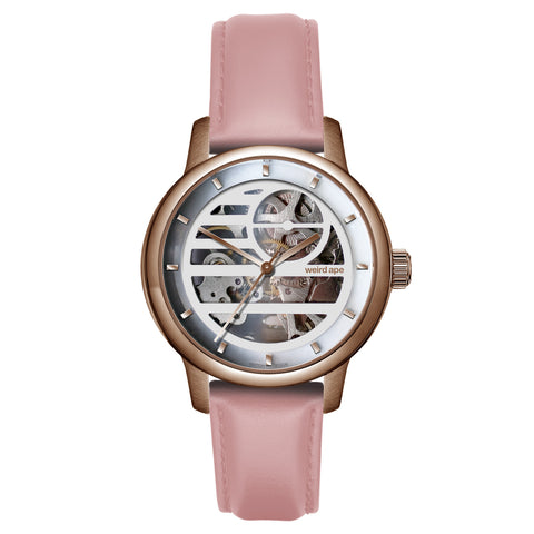 Weird Ape Weird Ape Rosalind - Women's Rose gold skeleton watch with a Pastel Pink strap