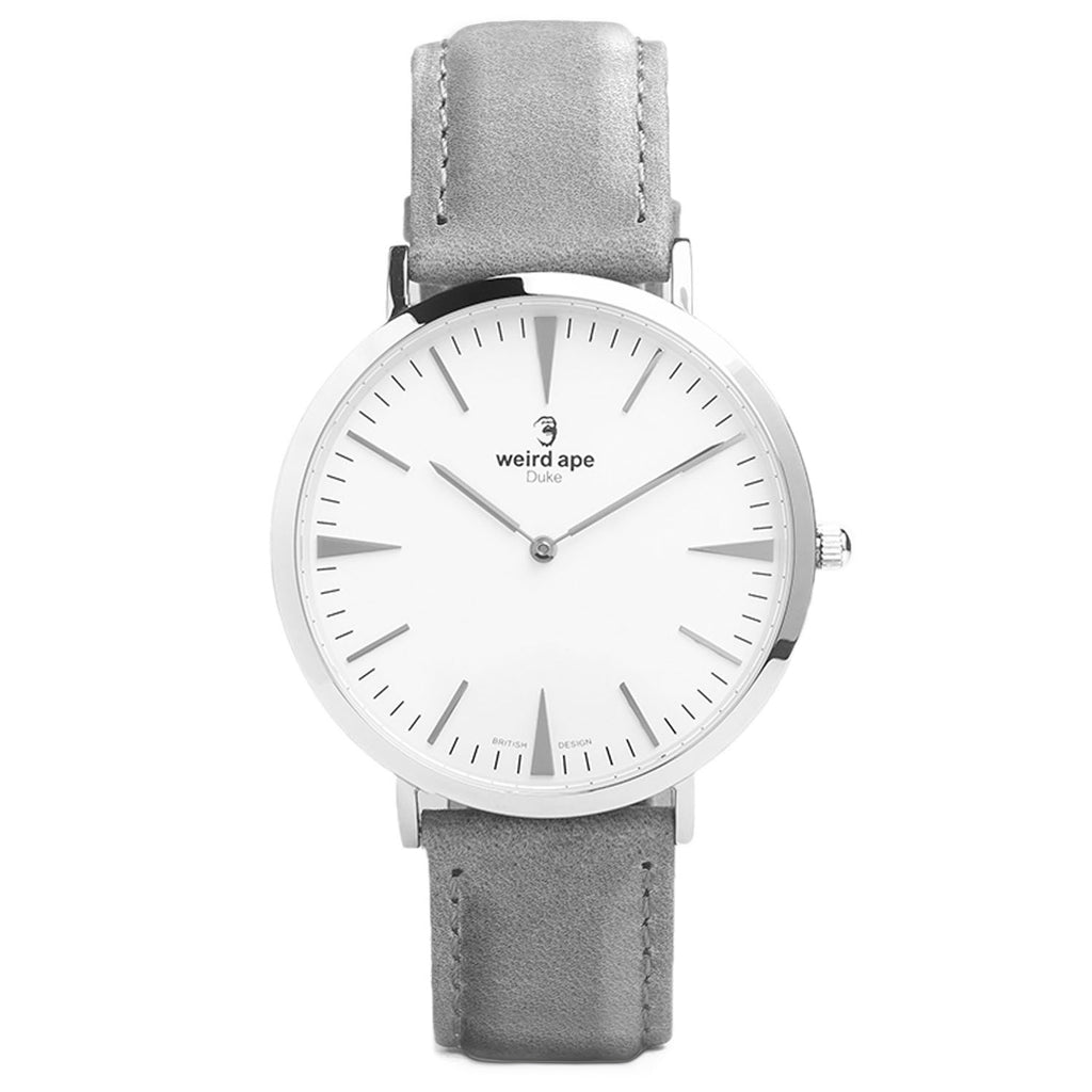 A silver minimal watch with a grey strap called the Duke.