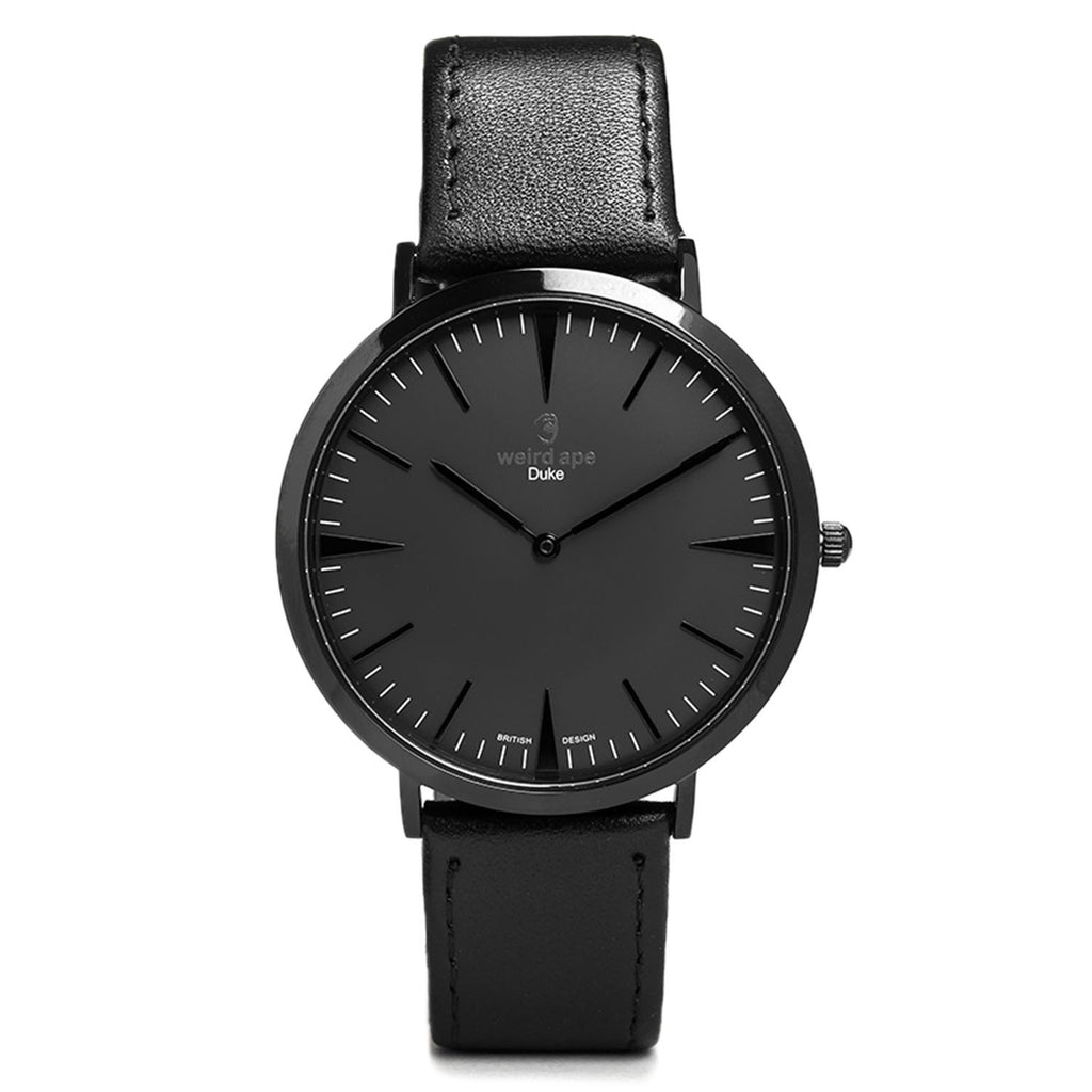 Men's black minimalist watch