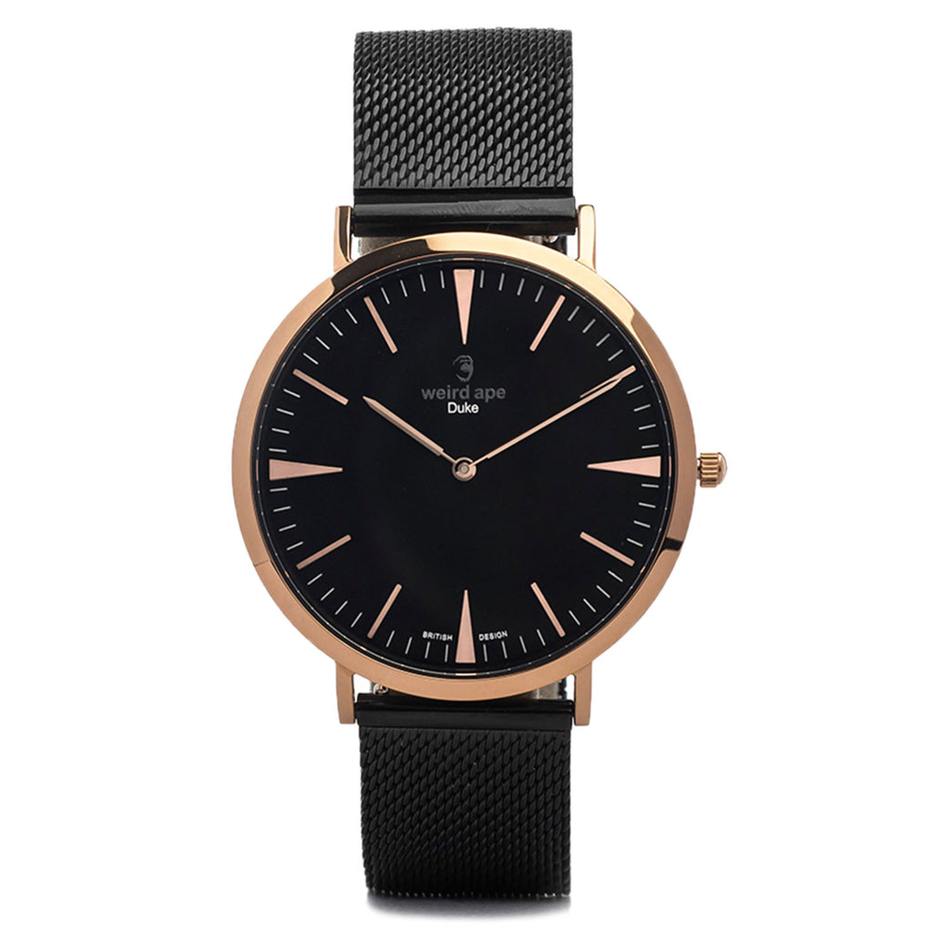 A photo of a Rose gold minimal analog watch design from our Rose gold simple mens watches.