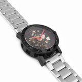 Black red skeleton watch side profile with silver metal strap.