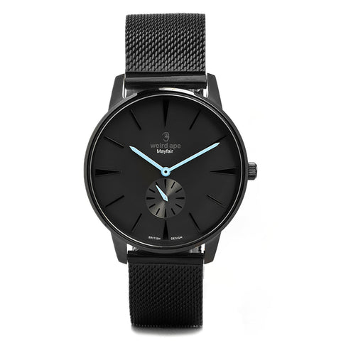 A photo of a Black minimal analog watch design from our Black minimalist watches uk.