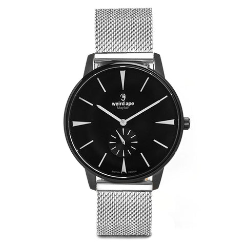 A photo of a Black minimal analog watch design from our Black minimalist mens watches.