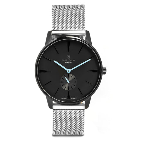 A photo of a Black minimal analog watch from our Black minimalistic watches.